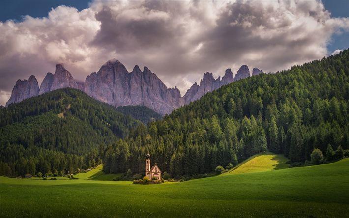 Indir duvar kağıdı Kilise Saint Johann, dağlar, Alpler, orman, İtalya, Bolzano'nun