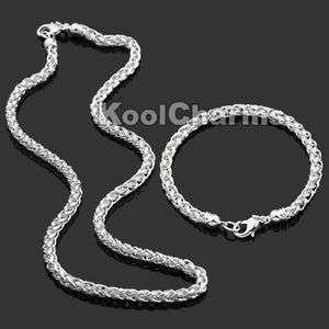 8mm Thick Mens Silver P Necklace Chain Bracelet SET S20