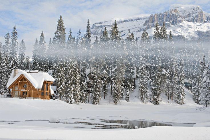One of my favorite Canadian Winter Wedding venues - Emerald Lake Lodge, Field, BC.  Photo via Orange Girl Photographs. #emeraldlakelodgewedding #mountainwedding