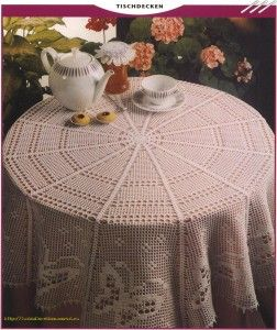 free crochet tablecloth pattern 252x300 Free Crochet Tablecloth Pattern Butterflies