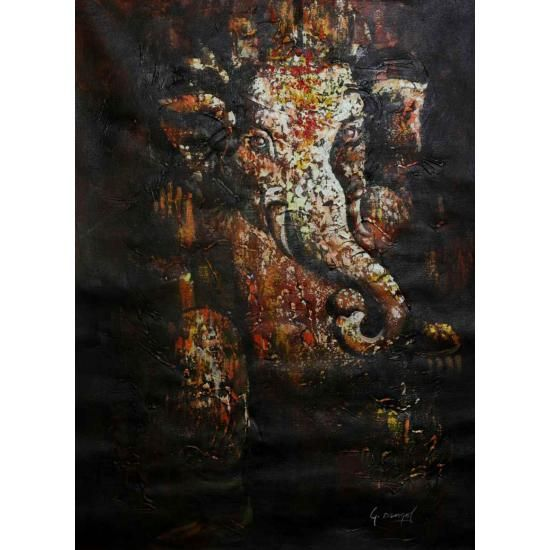 "Lord Ganesh, Elephant God Painting 32"" x 23"""