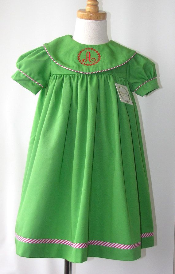 Toddler Monogrammed Christmas dress dresses Girls by handsmocked, $40.00