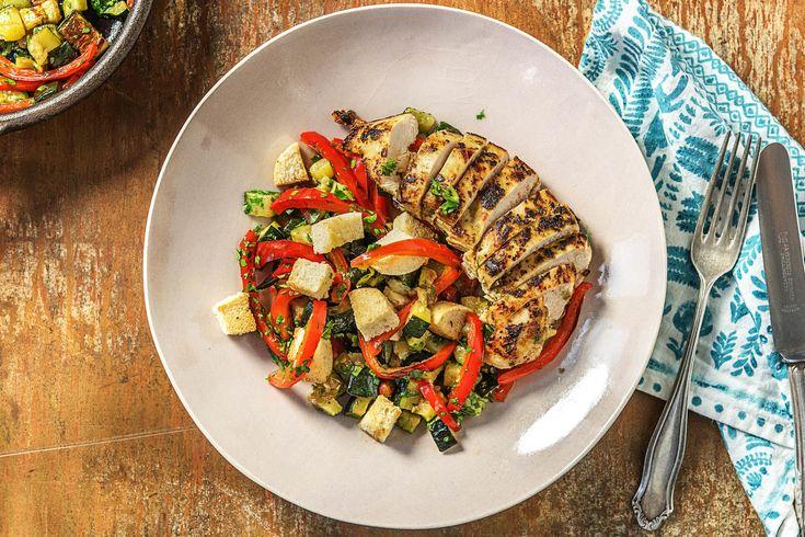 Pesto Chicken with Crunchy Panzanella Salad