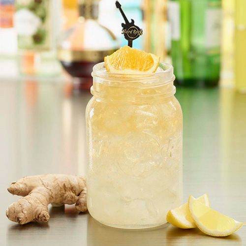 Try the SHOCKING SHANDY - the perfect summer cocktail, topped with wheat beer, cheers! #ThisIsHardRock #MasonJar #Summer