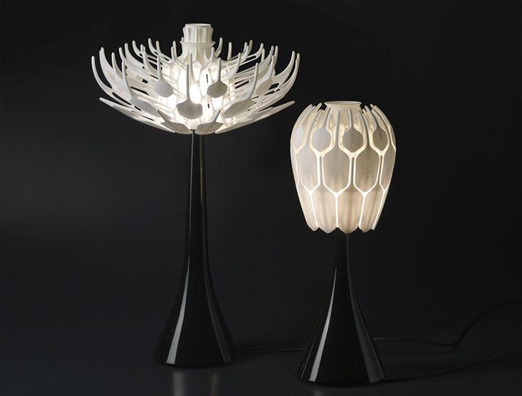 Unique White Folding Flower Pod Geometric Standing Lamp