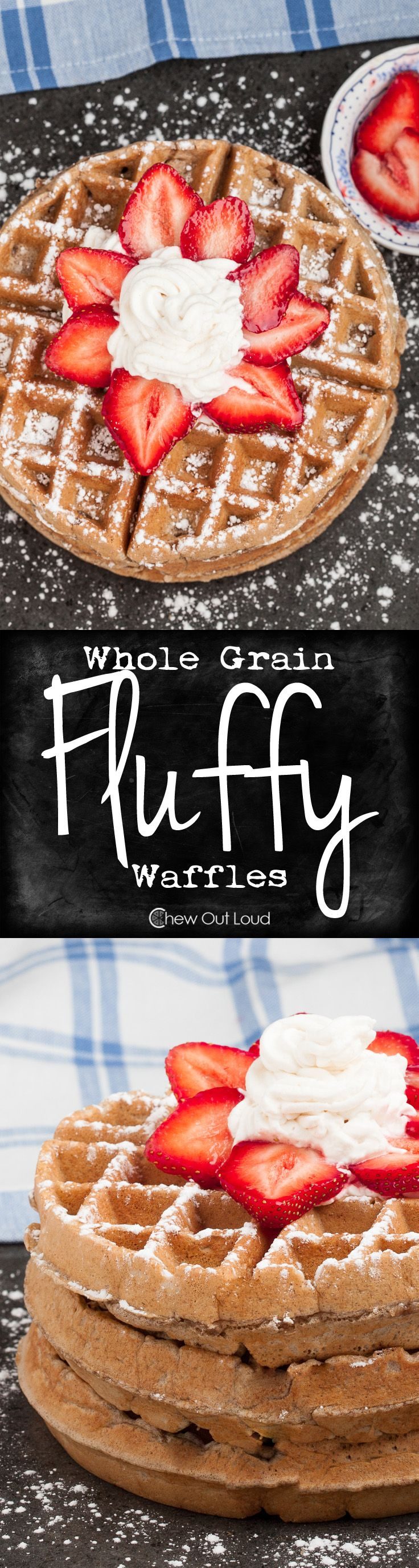 These are the Fluffiest Wheat Waffles ever. Perfectly golden crisp on the outside and fluffy soft on the inside. Nobody knows they're healthy. #breakfast #brunch #recipe