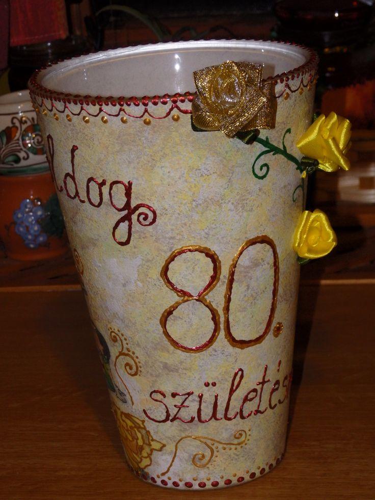 Váza transzfer technikával és szalagrózsával