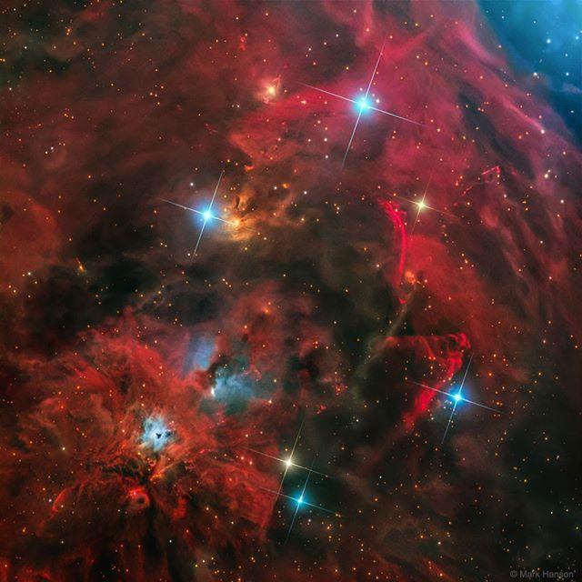 Esta colección de nebulosas y estrellas se encuentra a unos dos grados al sur de la famosa Nebulosa de Orión formadora de estrellas. La región está repleta de enérgicas estrellas jóvenes que producen chorros y salidas que atraviesan el material circundante a velocidades de cientos de kilómetros por segundo. La interacción crea ondas de choque luminosas conocidas como objetos Herbig-Haro (HH). Por ejemplo el elegante arco que fluye justo a la derecha del centro está catalogado como HH 222…