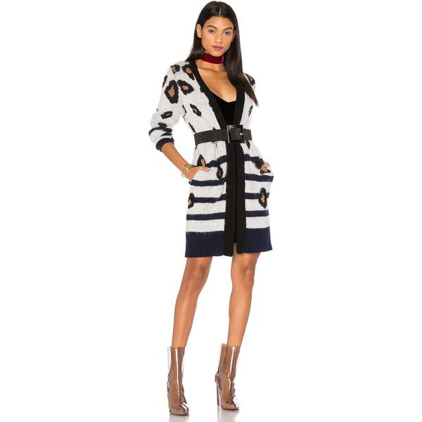 LPA x REVOLVE Cardigan 226 featuring polyvore, women's fashion, clothing, tops, cardigans, sweaters & knits, stripe top, white striped top, leopard cardigan, white cardigan and leopard top