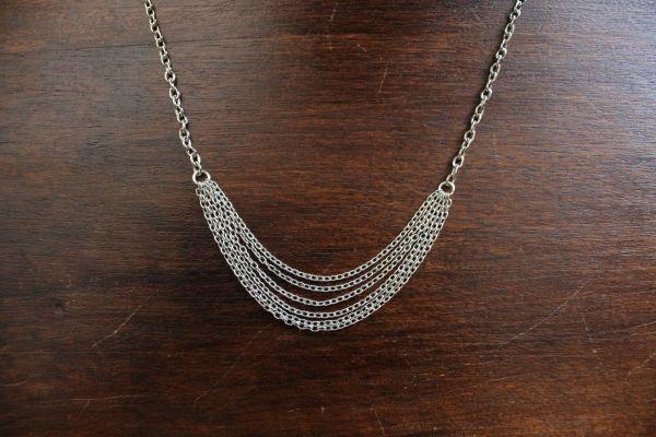 Collier ODINA, multi-rangs de chaine argentée fine - Colliers - Boutique - Les Fantaisies d'Agatha - Création et vente de bijoux faits main