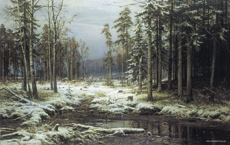 The first snow (1875) Ivan Shishkin  A Russian landscape painter closely associated with the Peredvizhniki movement. Born: January 25, 1832, Yelabuga, Russia. Died: March 20, 1898, Saint Petersburg, Russia Period: Realism