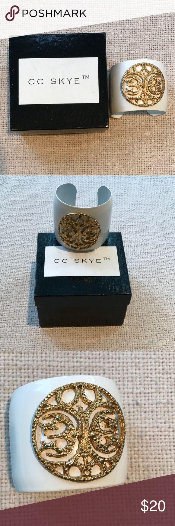 CC Skye white enamel cuff w/gold medallion Beautiful white enamel cuff with gold medallion. Made by CC SKYE. With box. So pretty for summer!! CC Skye Jewelry Bracelets