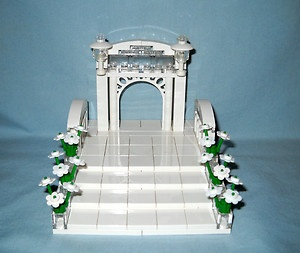 Custom Lego Wedding Arch Stairs Cake Topper for Bride Groom Minifigures | eBay major props to imagination, so unique