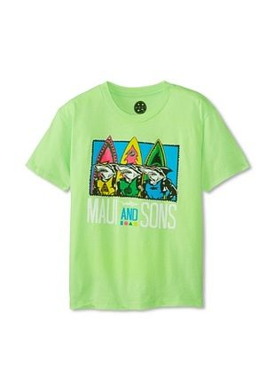 68% OFF Maui & Sons Boy's Shark Row Tee (Neon Mint Heather)