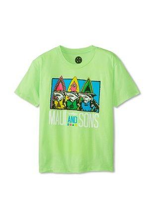 68% OFF Maui & Sons Boy's Shark Row Tee (Neon Mint Heather)