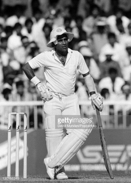 News Photo : Sunil Gavaskar in action for India during their...