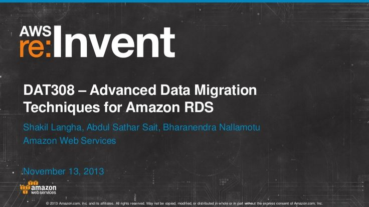 Advanced Data Migration Techniques for Amazon RDS #aws