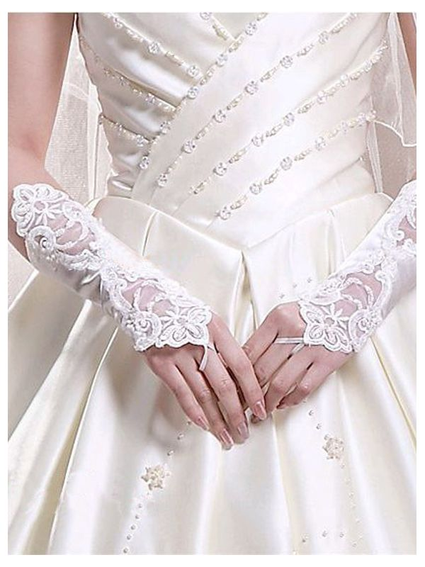 Women S White Short Lace Decorated Wedding Party Gloves