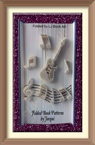 2101. Guitar Book Folding pattern Guitar with Musical Notes
