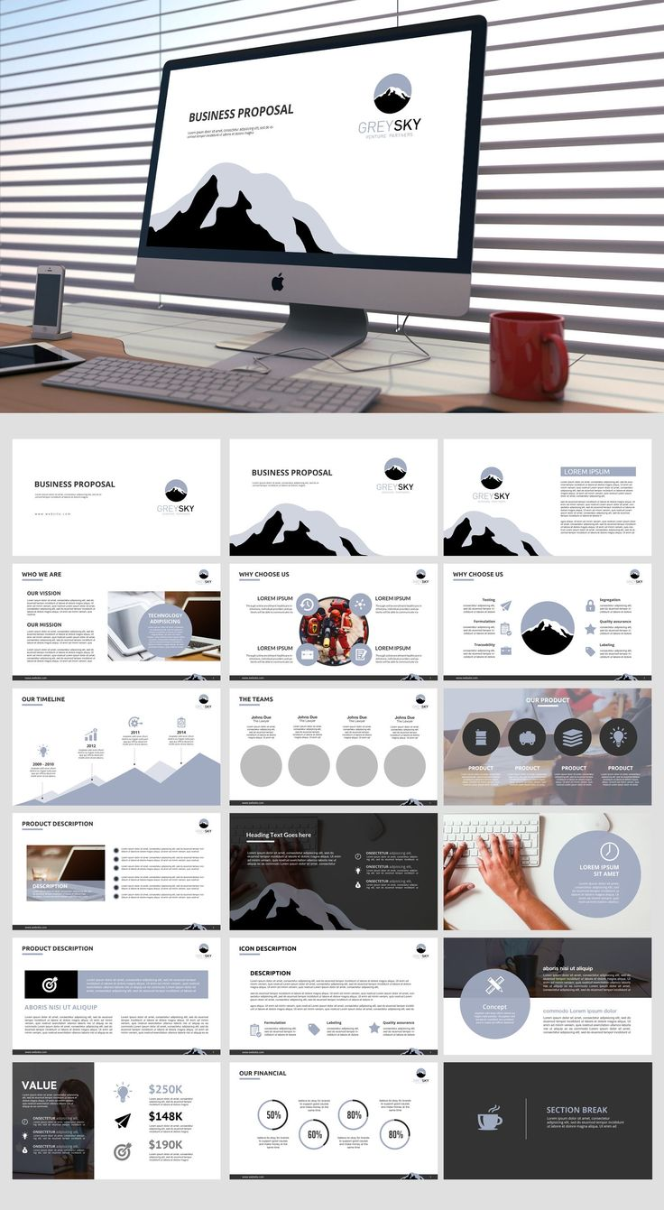 greyskyventures picked a winning design in their powerpoint template contest. For just $199 they received 12 designs from 7 designers.