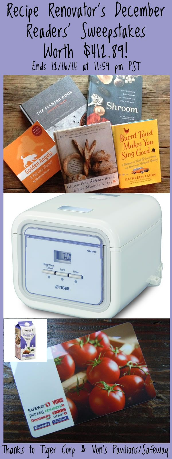 December 2014 Readers Sweepstakes: 5 books plus rice cooker plus Safeway gift card = $450 value! | Recipe Renovator | Ends 12/16/14 at 11:59 PM PST