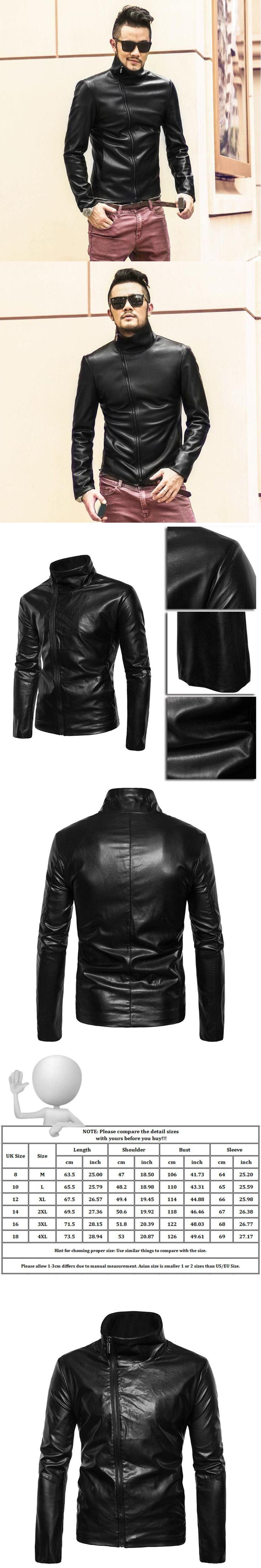 Imitation leather jacket men motorcycle jackets Black Leather Slim short stand collar British Jaqueta Couro Masculino Plus Size