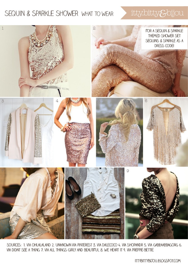 Inspirations for a sequin and sparkle bridal shower - guest can wear sequins as a dress code