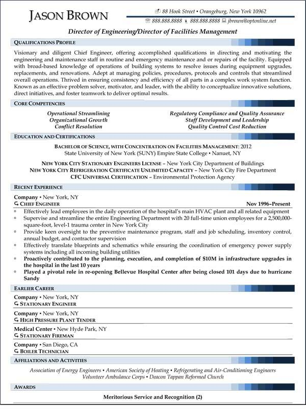 Director of Facilities Management Resume (Sample)