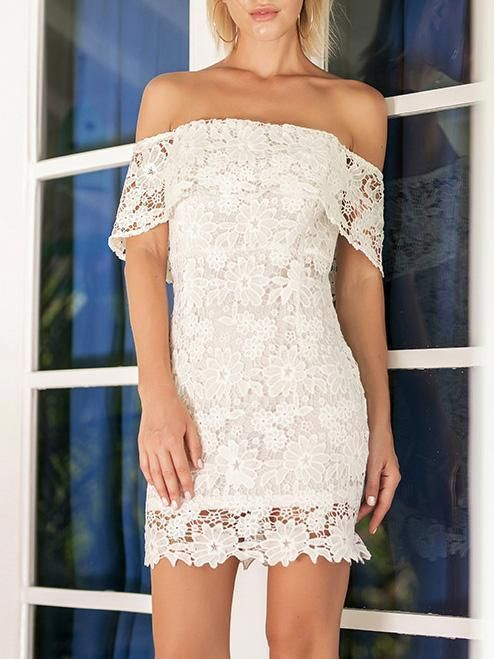 88a95533ff7 Hollow Strapless Backless White Off Shoulder Mini Dress ...