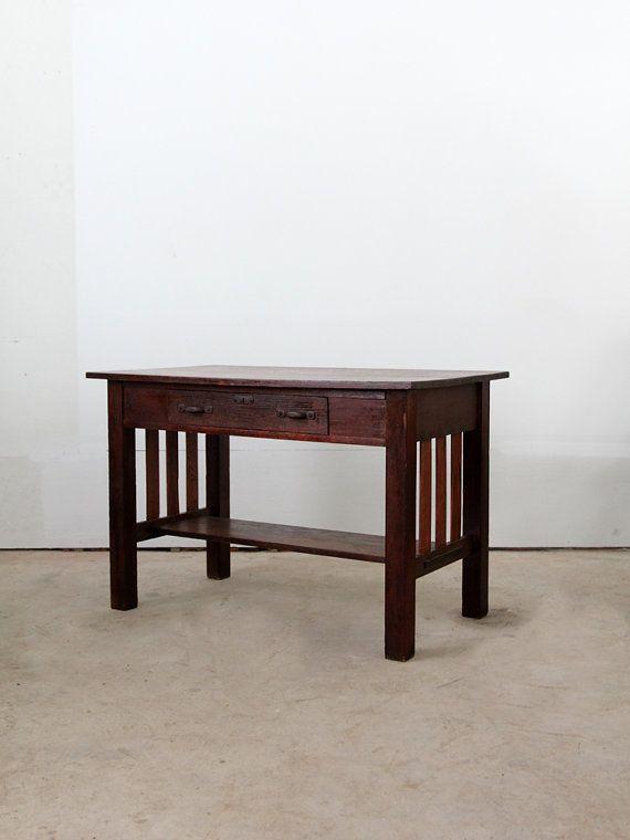 Antique mission desk wood arts and crafts table for Craftsman style desk plans