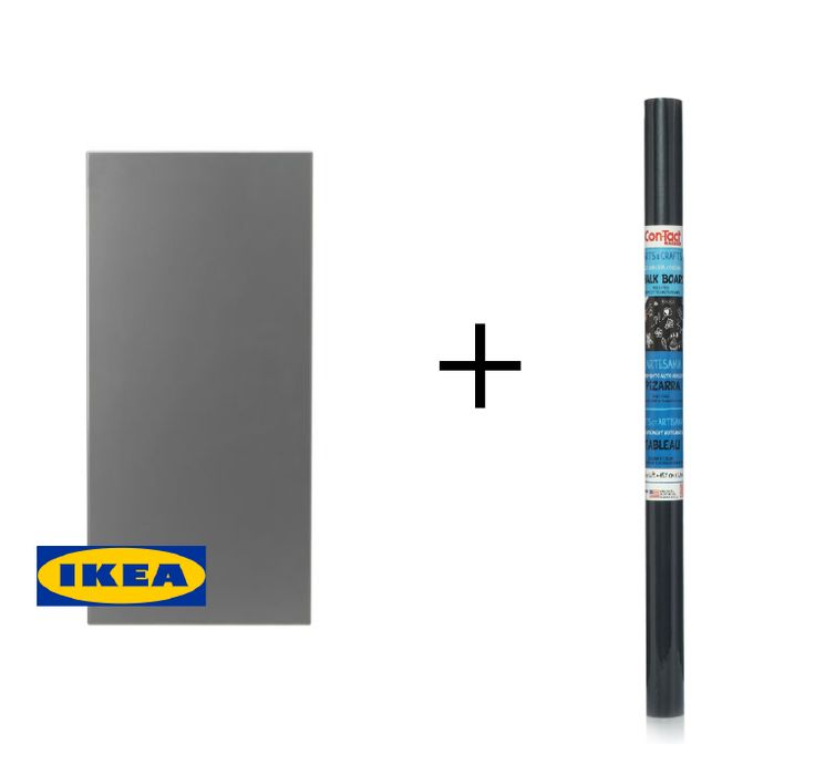 cover an IKEA Spontan magnetic board with chalkboard contact paper