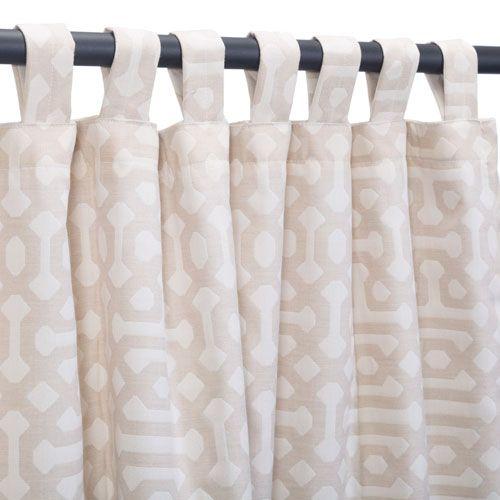 Sunbrella Curtain with Tabs Fretwork Flax