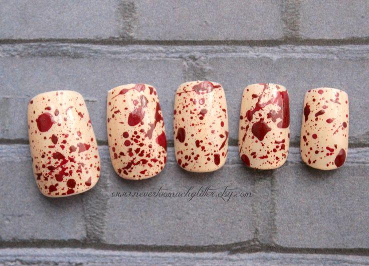 Splatter (Medium) Gothic Fake Nails, Horror, Goth, Creepy, Blood, Halloween, Short Fake Nails, False Nails Set, Press On Nails, Zombie Nail by Nevertoomuchglitter on Etsy https://www.etsy.com/listing/194478911/splatter-medium-gothic-fake-nails-horror