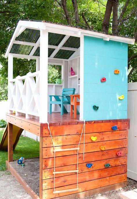 Stelzenhaus für Kinder im Garten selber bauen – Anleitung und Bauplan