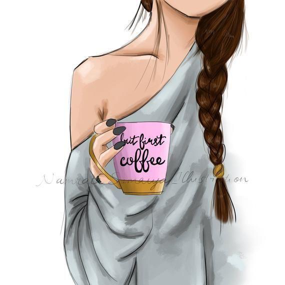 But first, Coffee. (Fashion Illustration art print…
