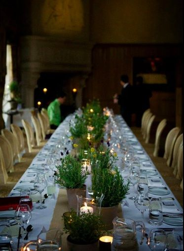 mixed herb and burlap table setting