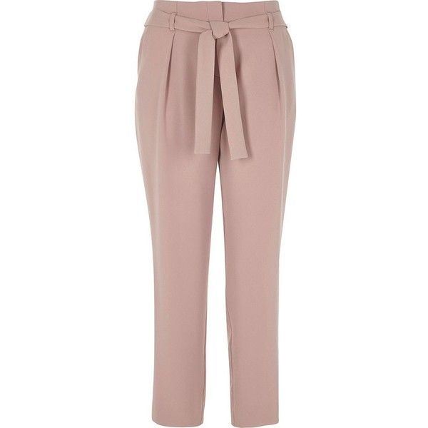 River Island Pink tie waist tapered pants ($70) ❤ liked on Polyvore featuring pants, pink, tapered pants, women, pink trousers, tie waist pants, woven pants, tall pants and loose fit pants