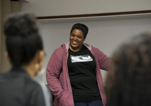 Google software engineer and Google In Residence Sabrina Williams talks with students during a Google Student Development class on Impostor Syndrome at Howard University in Washington, Tuesday, April 14, 2015. In ongoing efforts to diversify Silicon Valley's tech sector, Google is embedding engineers at a handful of Historically Black Colleges and Universities where they teach, mentor and advise on curriculum. (AP Photo/Molly Riley)