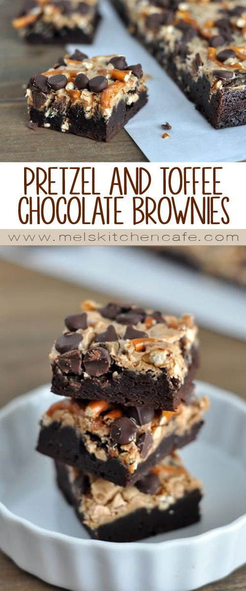 These pretzel and toffee peanut butter chocolate brownies are decadent and fudgy and ultra-chocolatey.
