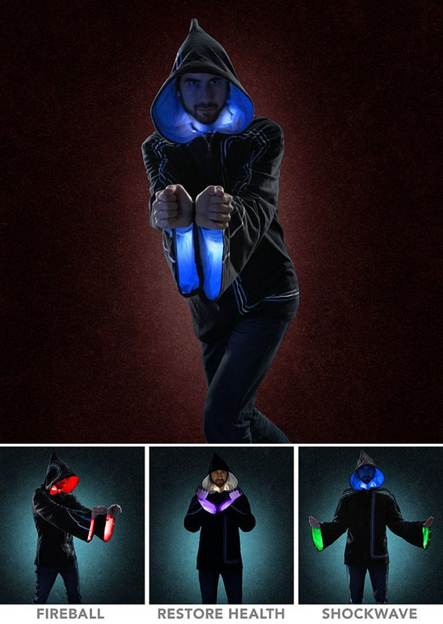Wizard Hoodie With Light And Sound Effects That Correspond To Different Spells You Can Cast   Geekologie