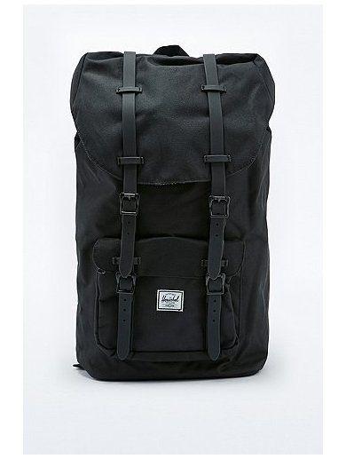 Herschel Rubber Strap Little America All Black Backpack