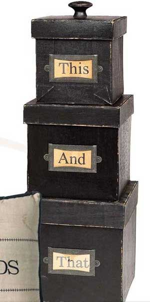 This N That Box Set, by K  K Interiors. With its quirky This and That labeling, this set of painted and purposely worn set of paper mache boxes provide unique and attractive storage. You receive the set of 3. Largest box measures 8 x 8 inches.  http://www.theweedpatchstore.com/this-n-that-box-set.html