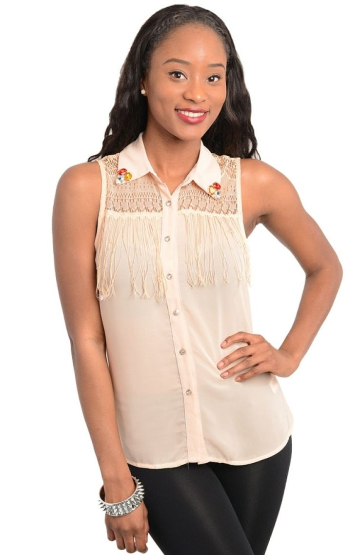 Jeweled Collar Fringe Blouse