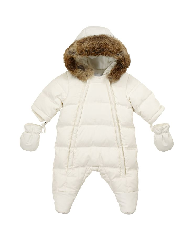 TARTINE ET CHOCOLAT  Unisex Baby White Down and Feather Snowsuit