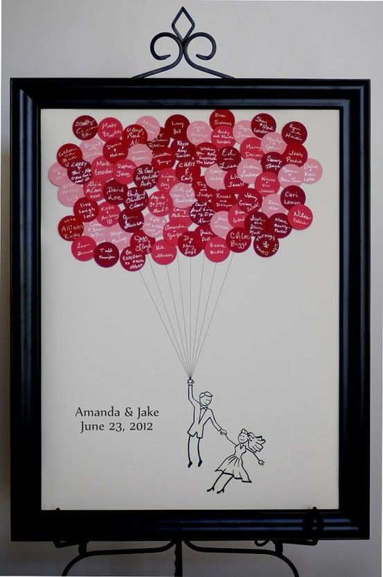 DIY Project   Guest Book Alternative :) really cute balloons with messages from your loved ones and friends
