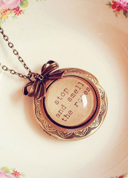 Large Antique Bronze Quote Locket with Bow
