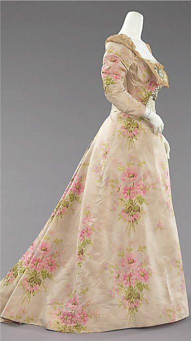 pink floral evening dress in silk & linen, ca 1897