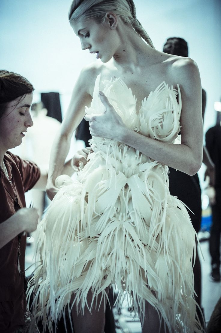 feather-like 3D print Ready-to-Wear dress BIO PIRACY by Iris Van Herpen in collaboration with arthitect 3D designer Julia Koerner 2014
