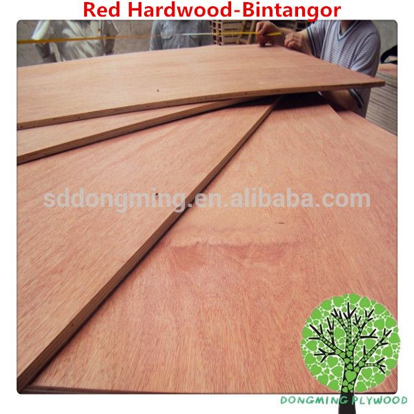 Colored Hardwood Veneer/Red Commercial Hardwood Plywood for Sale
