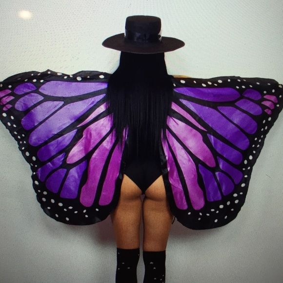 Butterfly wings purple edm festival rave accessory See defect in second picture- not very noticeable Thr moon cult Accessories